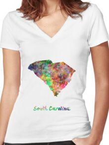 South Carolina US state in watercolor Women's Fitted V-Neck T-Shirt
