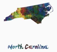 North Carolina US state in watercolor Baby Tee