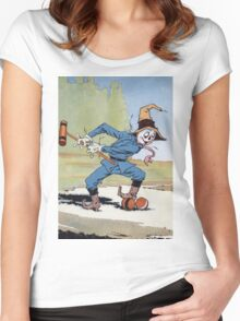 John R. Neill - The Scarecrow Swinging A Croquet Mallet. Child portrait: cute baby, kid, children, pretty angel, child, kids, lovely family, boys and girls, boy and girl, mom mum mammy mam, childhood Women's Fitted Scoop T-Shirt