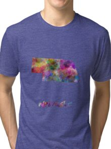 Nebraska US state in watercolor Tri-blend T-Shirt