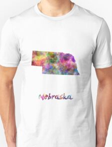 Nebraska US state in watercolor Unisex T-Shirt