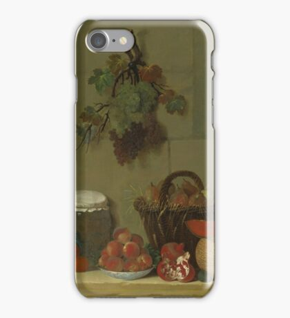Jacques-Charles Oudry PARIS  LAUSANNE A STILL LIFE WITH A WHEAT LINED BASKET OF PEARS iPhone Case/Skin
