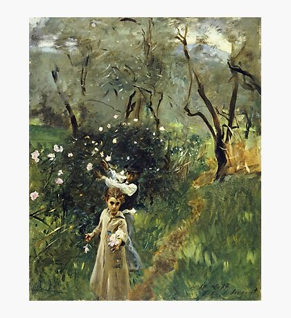 John Singer Sargent - Gathering Flowers At Twilight. Garden landscape: garden view, trees flowers, blossom, nature, botanical park, floral flora, wonderful flowers, plants, cute plant, garden, flower Photographic Print