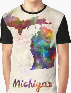 Michigan US state in watercolor Graphic T-Shirt