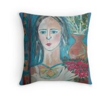 Ancient greek lady (throw pillow on blue) Throw Pillow