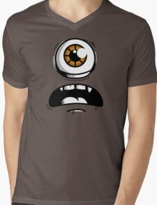 Orange Eyed Scared Monster Mens V-Neck T-Shirt
