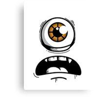 Orange Eyed Scared Monster Canvas Print