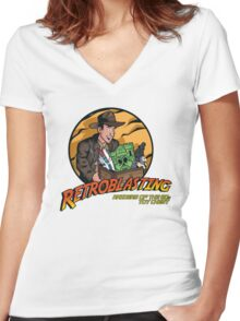 RetroBlasting Raiders of the 80s Toy Chest Women's Fitted V-Neck T-Shirt