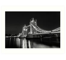 Tower Bridge Night Mono Art Print
