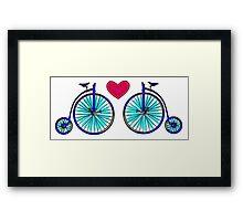New age vintage bike blue love Framed Print