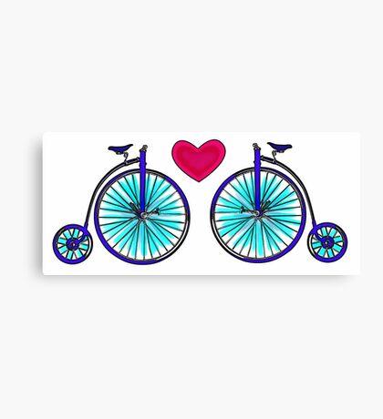 New age vintage bike blue love Canvas Print