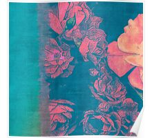 Rose Garden Blue 4- Texture Rose Study in red peach scarlet indigo watercolor wash Poster