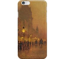 John Atkinson Grimshaw - A Street At Night. Street landscape: city view, streets, building, houses, prospects, cityscape, architecture, roads, travel landmarks, panorama garden, buildings iPhone Case/Skin