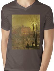 John Atkinson Grimshaw - Under The Moonbeams. Lake landscape: trees, river, land, forest, coast seaside, waves and beach, marine naval navy, lagoon reflection, sun and clouds, nautical panorama, lake Mens V-Neck T-Shirt