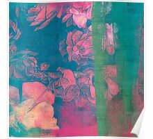 Rose Garden Blue 5- Texture Rose Study in red emerald green scarlet indigo watercolor wash Poster