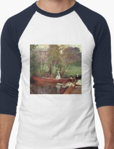 John Singer Sargent - A Boating Party. Lake landscape: trees, river, land, forest, coast seaside, waves and beach, marine naval navy, lagoon reflection, sun and clouds, nautical panorama, lake Men's Baseball ¾ T-Shirt