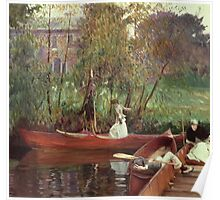 John Singer Sargent - A Boating Party. Lake landscape: trees, river, land, forest, coast seaside, waves and beach, marine naval navy, lagoon reflection, sun and clouds, nautical panorama, lake Poster