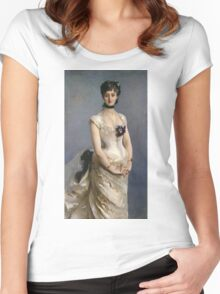 John Singer Sargent - Madame Paul Poirson. Woman portrait: sensual woman, girly art, female style, pretty women, femine, beautiful dress, cute, creativity, love, sexy lady, erotic pose Women's Fitted Scoop T-Shirt