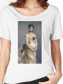 John Singer Sargent - Madame Paul Poirson. Woman portrait: sensual woman, girly art, female style, pretty women, femine, beautiful dress, cute, creativity, love, sexy lady, erotic pose Women's Relaxed Fit T-Shirt