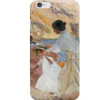 Joaquin Sorolla Y Bastida - Clotilde And Elena On The Rocks, Javea. Mother with kid portrait: cute girl, daughter, female, Sea views, child, beautiful dress, lovely family, memory, sea, baby iPhone Case/Skin