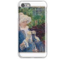 Lydia Crocheting in the Garden at Marly ,  Mary Cassatt iPhone Case/Skin