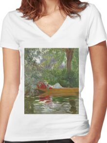 John Singer Sargent - Under The Willows. Lake landscape: trees, river, land, forest, coast seaside, waves and beach, marine naval navy, lagoon reflection, sun and clouds, nautical panorama, lake Women's Fitted V-Neck T-Shirt