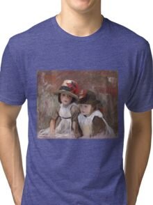 John Singer Sargent - Village Children. Child portrait: cute baby, kid, children, pretty angel, child, kids, lovely family, boys and girls, boy and girl, mom mum mammy mam, childhood Tri-blend T-Shirt