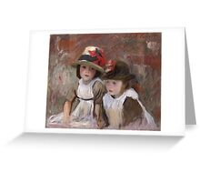 John Singer Sargent - Village Children. Child portrait: cute baby, kid, children, pretty angel, child, kids, lovely family, boys and girls, boy and girl, mom mum mammy mam, childhood Greeting Card