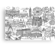 Queen's London Day Out - black & white Canvas Print