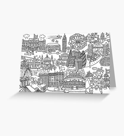 Queen's London Day Out - black & white Greeting Card