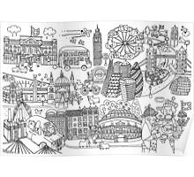 Queen's London Day Out - black & white Poster