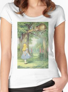 John Tenniel - Alice And The Cheshire Cat, Illustration From  Alice In Wonderland. Cat portrait: cute cat, kitten, kitty, cats, pets, wild life, animal, smile, little, kids, baby Women's Fitted Scoop T-Shirt