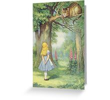 John Tenniel - Alice And The Cheshire Cat, Illustration From  Alice In Wonderland. Cat portrait: cute cat, kitten, kitty, cats, pets, wild life, animal, smile, little, kids, baby Greeting Card