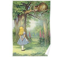 John Tenniel - Alice And The Cheshire Cat, Illustration From  Alice In Wonderland. Cat portrait: cute cat, kitten, kitty, cats, pets, wild life, animal, smile, little, kids, baby Poster