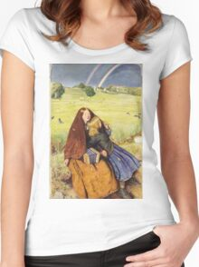 John Everett Millais - The Blind Girl 1854. Girl portrait: cute girl, girly, female, pretty angel, child, beautiful dress, face with hairs, smile, little, kids, baby Women's Fitted Scoop T-Shirt