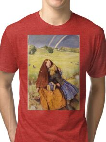 John Everett Millais - The Blind Girl 1854. Girl portrait: cute girl, girly, female, pretty angel, child, beautiful dress, face with hairs, smile, little, kids, baby Tri-blend T-Shirt