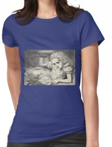 John Tenniel - Alice Grows Too Tall For The Room, From  Alice S Adventures In Wonderland. Girl portrait: cute girl, girly, female, pretty angel, child, beautiful dress, smile, little, kids, baby Womens Fitted T-Shirt