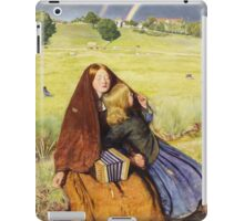 John Everett Millais - The Blind Girl 1854. Girl portrait: cute girl, girly, female, pretty angel, child, beautiful dress, face with hairs, smile, little, kids, baby iPad Case/Skin