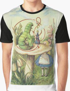 John Tenniel - Alice Meets The Caterpillar, Illustration From  Alice In Wonderland. Girl portrait: cute girl, girly, female, pretty angel, child, beautiful dress, smile, little, kids, baby Graphic T-Shirt