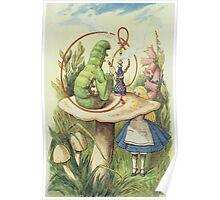 John Tenniel - Alice Meets The Caterpillar, Illustration From  Alice In Wonderland. Girl portrait: cute girl, girly, female, pretty angel, child, beautiful dress, smile, little, kids, baby Poster