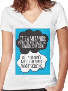 It's A Metaphor Cloud Design Women's Fitted V-Neck T-Shirt