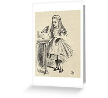 John Tenniel - Alice Peering At The Drink Me Bottle, From  Alice S Adventures In Wonderland. Girl portrait: cute girl, girly, female, pretty angel, child, smile, little, kids, baby Greeting Card