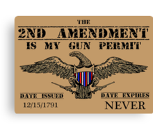 2ND AMENDMENT IS MY GUN PERMIT - Shirts, Stickers, Posters Canvas Print