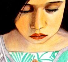 Roxanna --- Girl Praying by Saribelle Rodriguez Sticker