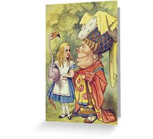 John Tenniel - Alice With The Duchess, Illustration From  Alice In Wonderland. Girl portrait: cute girl, girly, female, pretty angel, child, beautiful dress, face with hairs, smile, little, kids, baby Greeting Card