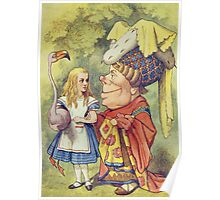 John Tenniel - Alice With The Duchess, Illustration From  Alice In Wonderland. Girl portrait: cute girl, girly, female, pretty angel, child, beautiful dress, face with hairs, smile, little, kids, baby Poster