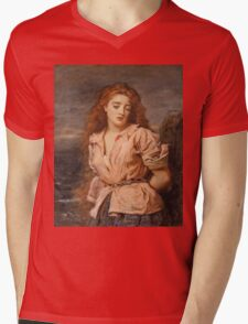 John Everett Millais - The Martyr Of The Solway. Woman portrait: sensual woman, girly art, female style, pretty women, femine, beautiful dress, cute, creativity, love, sexy lady, erotic pose Mens V-Neck T-Shirt