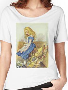John Tenniel - Alice Upsets The Jury-Box, Illustration From  Alice In Wonderland. Girl portrait: cute girl, girly, female, pretty angel, child, beautiful dress, smile, little, kids, baby Women's Relaxed Fit T-Shirt