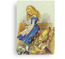 John Tenniel - Alice Upsets The Jury-Box, Illustration From  Alice In Wonderland. Girl portrait: cute girl, girly, female, pretty angel, child, beautiful dress, smile, little, kids, baby Canvas Print