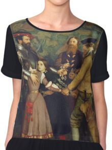 John Everett Millais - The Ransom. Family portrait: father and son, mother and daughter, female and male, dad daddy, child baby, beautiful dress, lovely family, mothers day, memory, mom mam, friends Chiffon Top